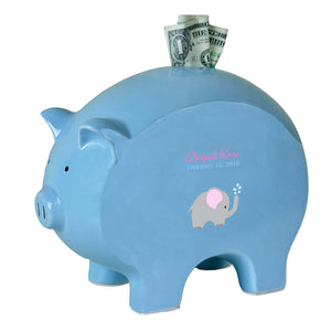 Blue Piggy Bank - Single Elephant