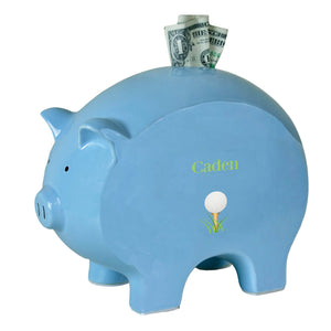 Personalized Blue Piggy Bank with Single Golf Ball design