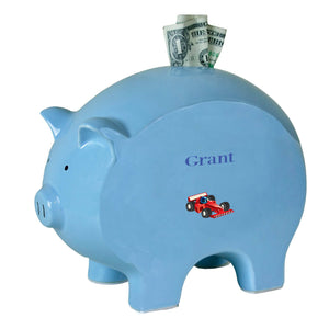 Personalized Blue Piggy Bank with Single Formula 1 Car design