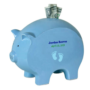 Blue Piggy Bank - SingleBlue Footprint