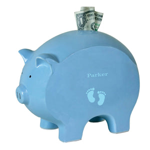 Personalized Blue Piggy Bank with Single Footprints Blue design