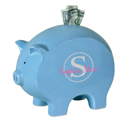 personalized blue piggy bank 701 light gray circle ll