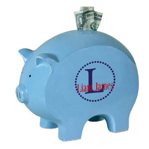 personalized blue piggy bank 705 navy circle ll