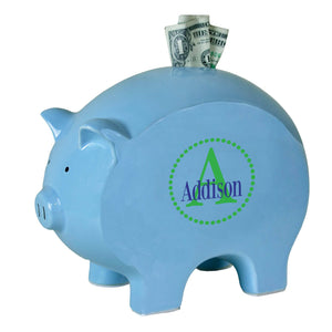 personalized blue piggy bank 706 green circle ll