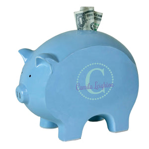 personalized blue piggy bank 711 teal circle ll