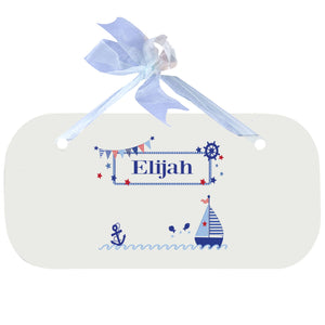 Personalized Wall Plaque Door Sign Boys Sailboat design