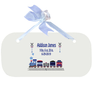 Blue Wall Plaque - Train