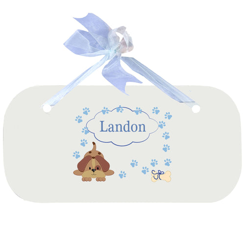 Personalized Wall Plaque Door Sign Blue Puppy design