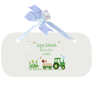 Blue Wall Plaque - Green Tractor