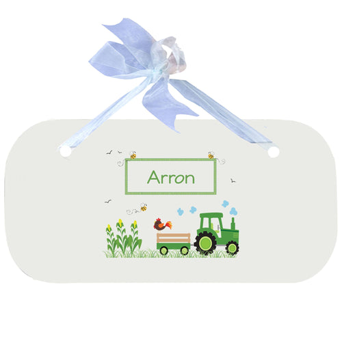 Personalized Wall Plaque Door Sign Green Tractor design
