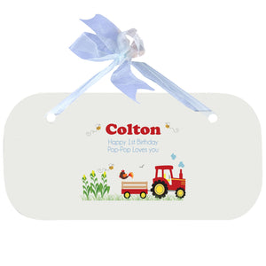 Blue Wall Plaque - Red Tractor