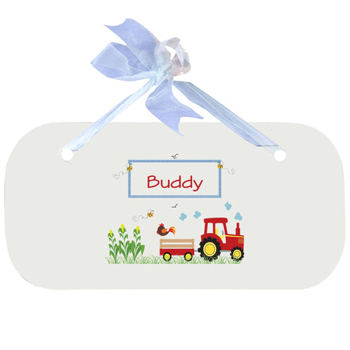 Personalized Wall Plaque Door Sign Red Tractor design