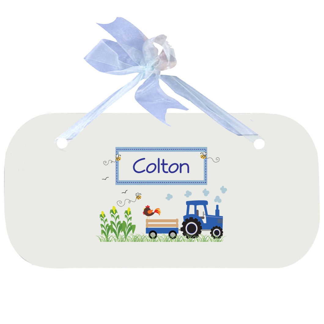 Personalized Wall Plaque Door Sign Blue Tractor design