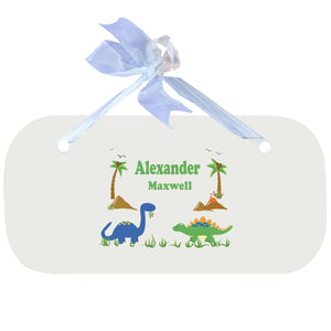 Blue Wall Plaque - Dinosaurs