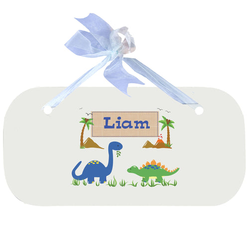 Personalized Wall Plaque Door Sign Dinosaurs design