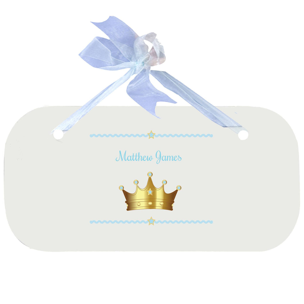 Personalized Wall Plaque Door Sign Prince Crown Blue design