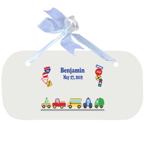 Blue Wall Plaque - Cars and Trucks
