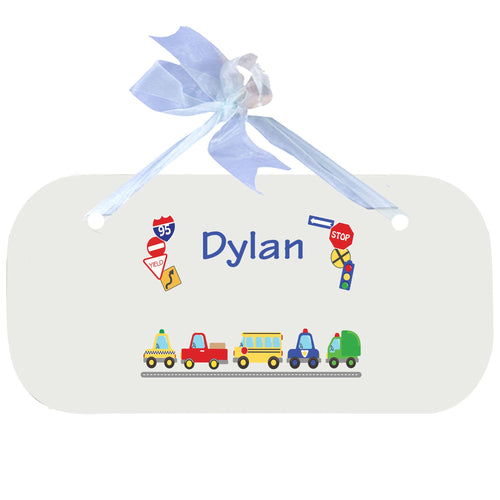 Personalized Wall Plaque Door Sign Cars and Trucks design