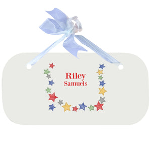 Blue Wall Plaque - Stitched Stars
