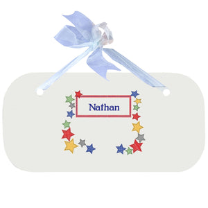 Personalized Wall Plaque Door Sign Stitched Stars design