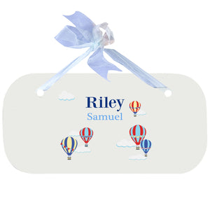 Blue Wall Plaque - Hot Air Balloon Primary