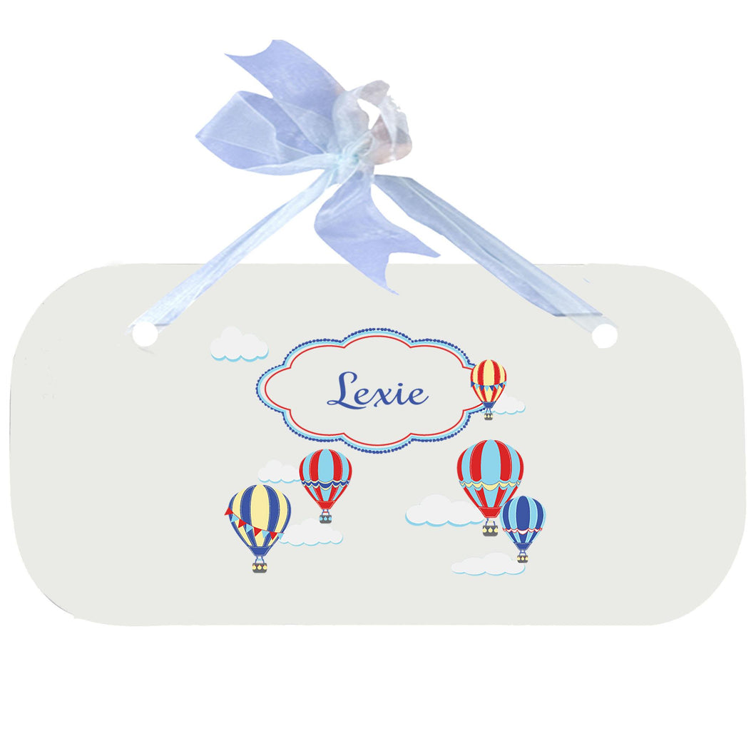 Personalized Wall Plaque Door Sign Hot Air Balloon Primary design