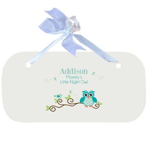 Blue Wall Plaque - Blue Gingham Owl