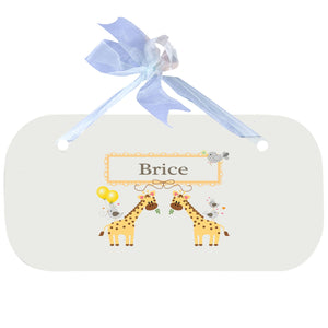 Personalized Wall Plaque Door Sign Giraffe design