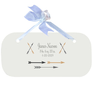 Blue Wall Plaque - Arrows Gold Grey