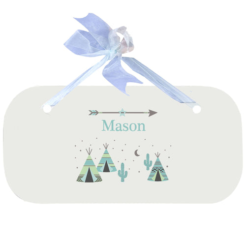 Personalized Wall Plaque Door Sign Teepee Aqua Mint design