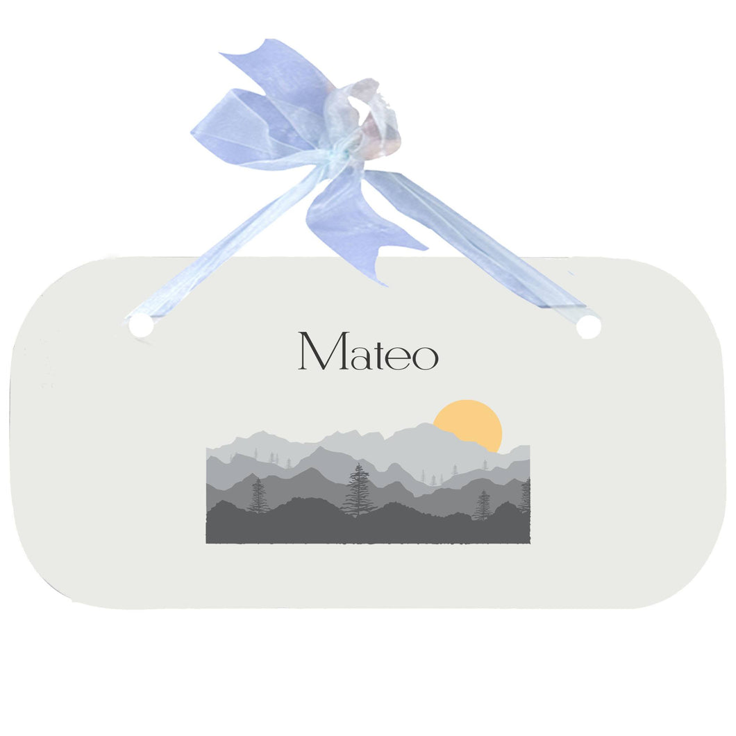 Personalized Wall Plaque Door Sign Misty Mountain design