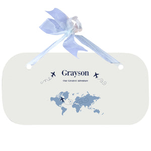 Personalized Wall Plaque Door Sign World Map Blue design