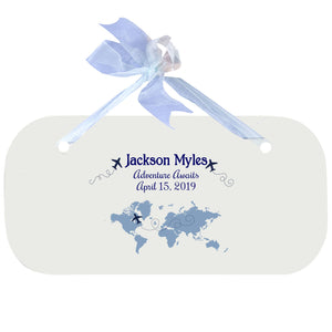 Wall Plaque with World Map Blue design