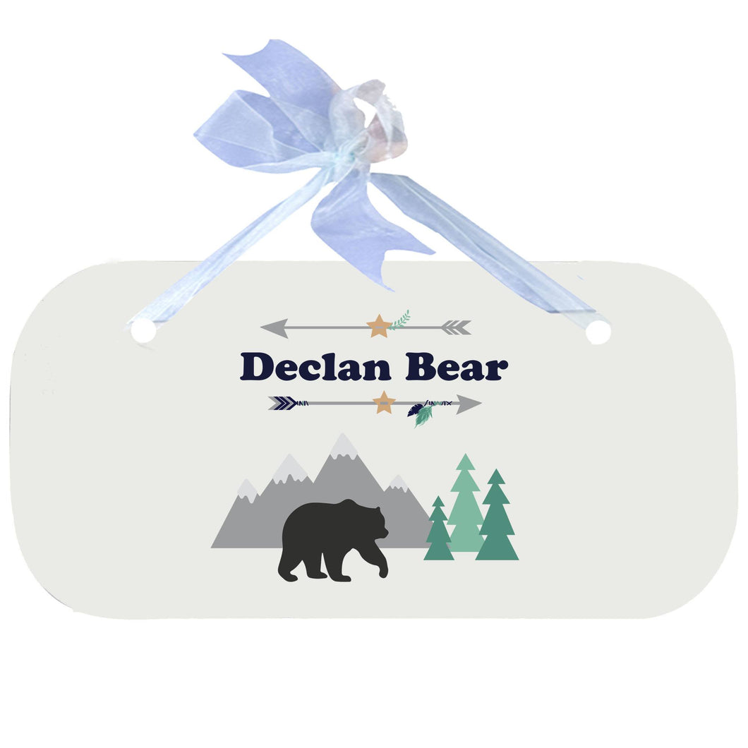 Personalized Wall Plaque Door Sign Mountain Bear design