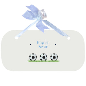 Blue Wall Plaque - Soccer Balls