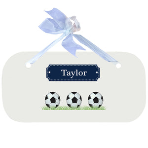 Personalized Wall Plaque Door Sign Soccer Balls design