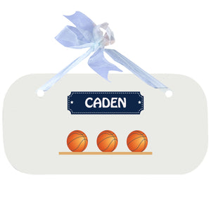 Personalized Wall Plaque Door Sign Basketballs design