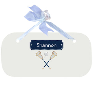 Personalized Wall Plaque with Lacrosse Sticks design