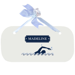 Personalized Wall Plaque with Swim design