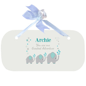 Blue Wall Plaque - Grey and Teal Elephant