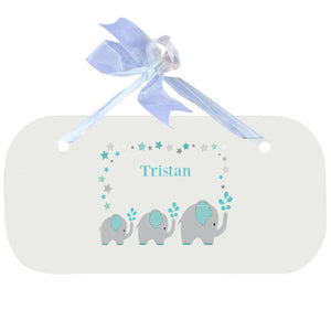 Personalized Wall Plaque Door Sign Grey and Teal Elephant design