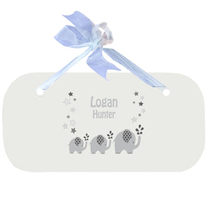 Personalized Wall Plaque with Gray Elephant