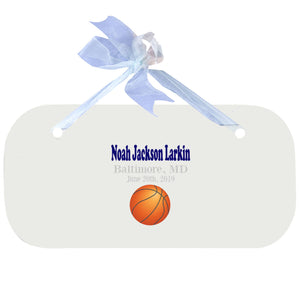 Blue Wall Plaque - Single Basketball