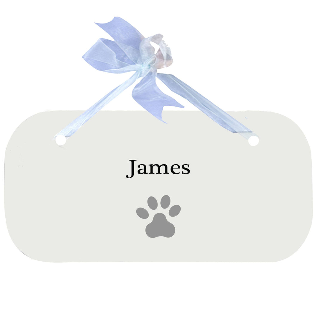 Personalized Wall Plaque Door Sign Single Paw Print design