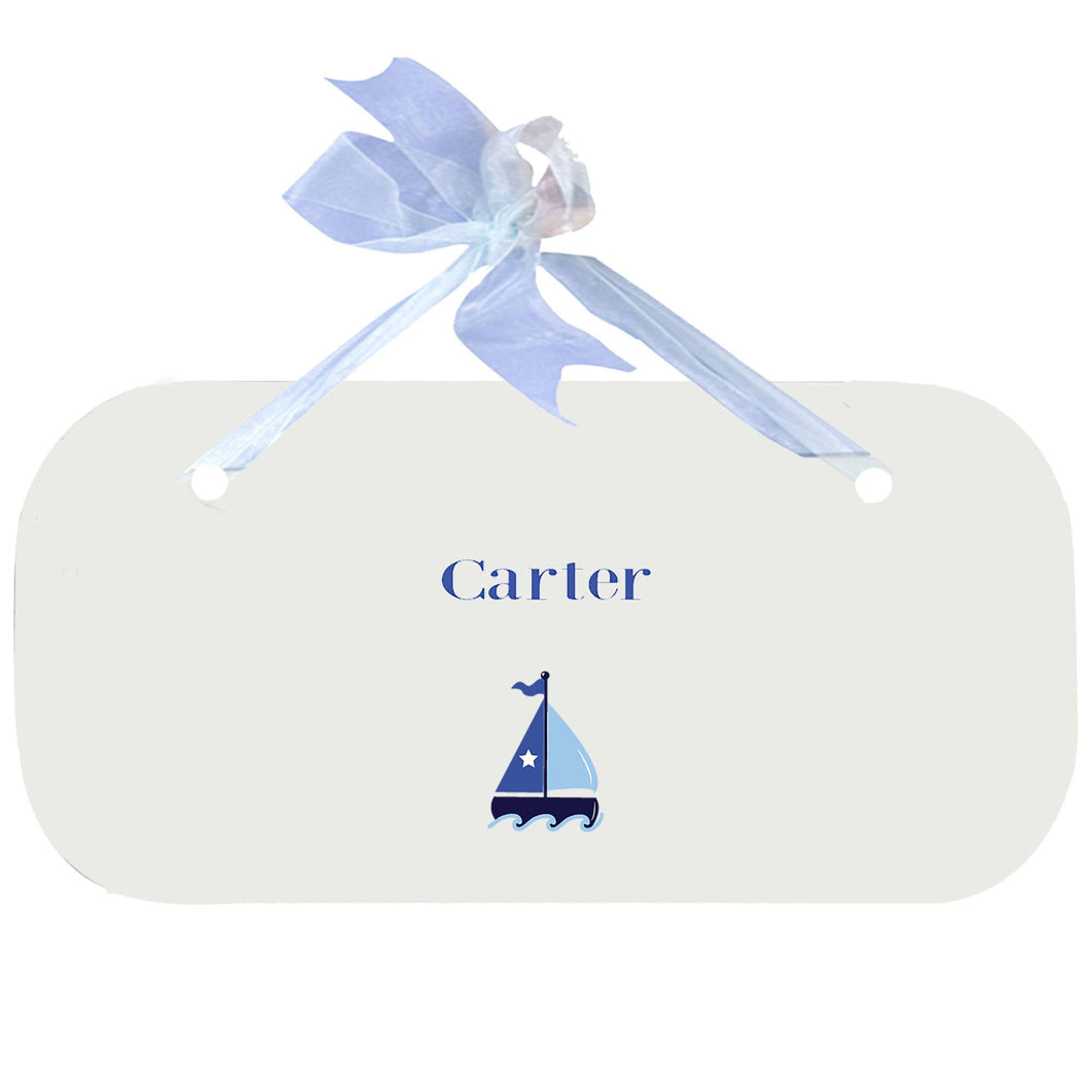 Personalized Wall Plaque Door Sign Single Sailboat design