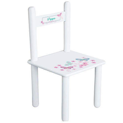 Personalized Aqua Pink Butterflies Chair