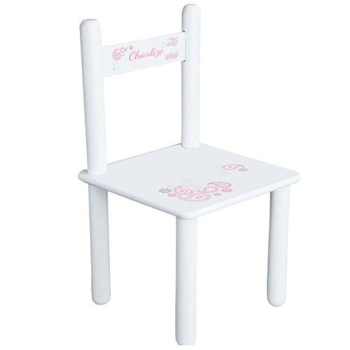 Personalized Pink Gray Paisley Chair