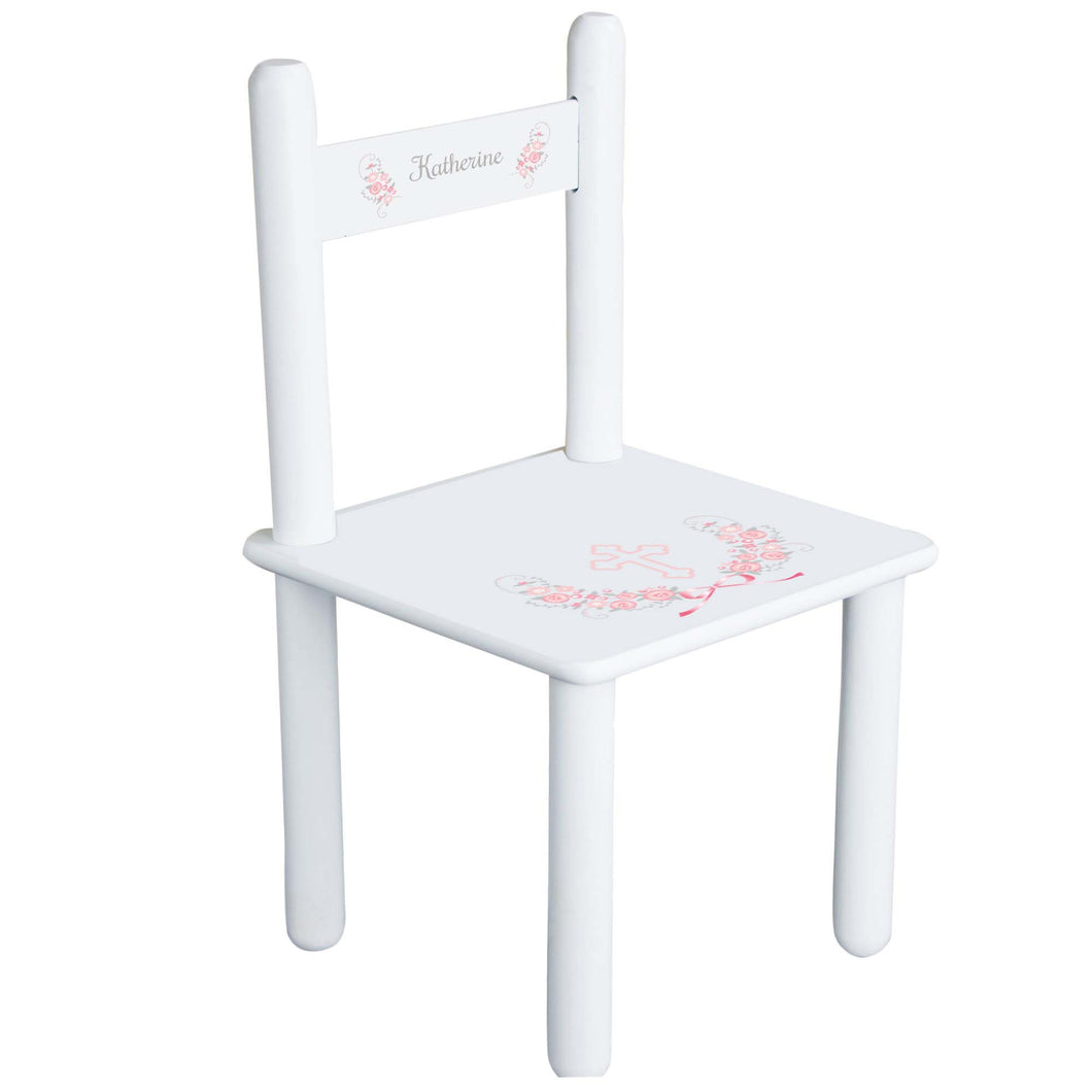 Personalized Pink Gray Floral Cross Chair