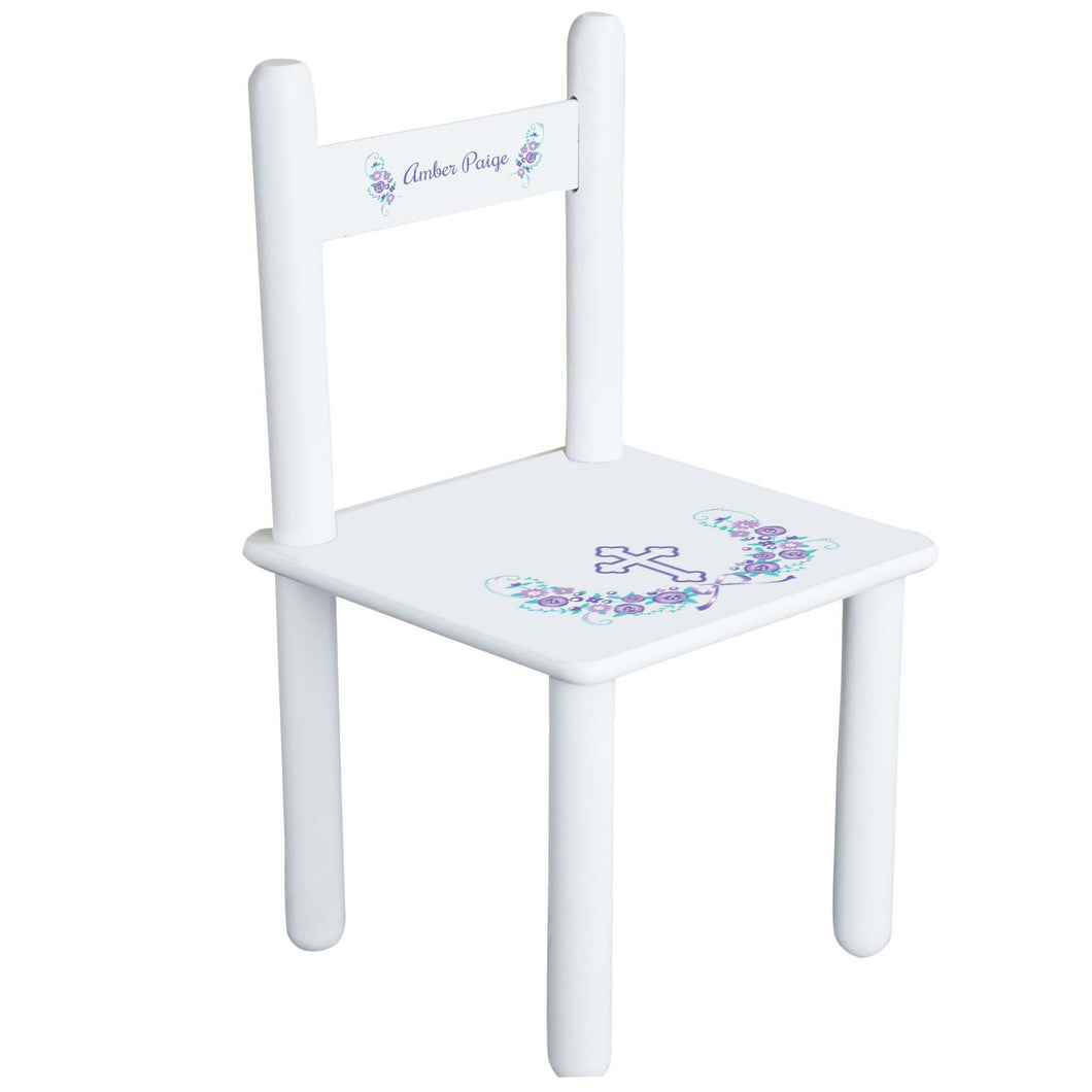 Personalized Lavender Floral Cross Chair