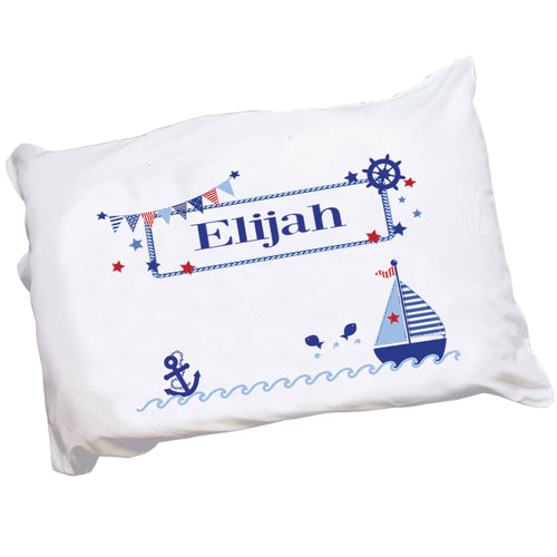Personalized Childrens Pillowcase with Boys Sailboat design